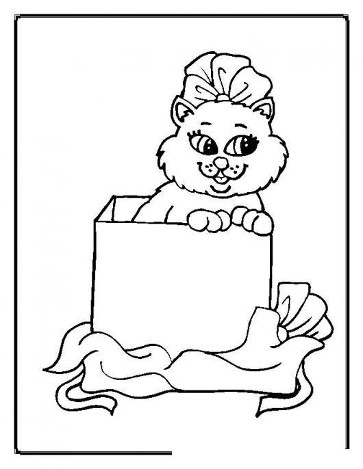 Colorear Gatita En Caja De Regalo Colorear Gatos Dibujo Para