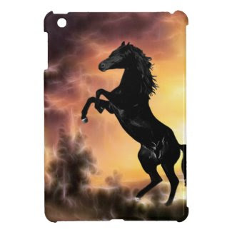 A rearing stallion at sunset iPad mini covers