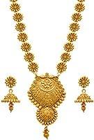 JFL - Traditional Ethnic One Gram Gold Plated Flower Floral Designer Long Women's Necklace Set.