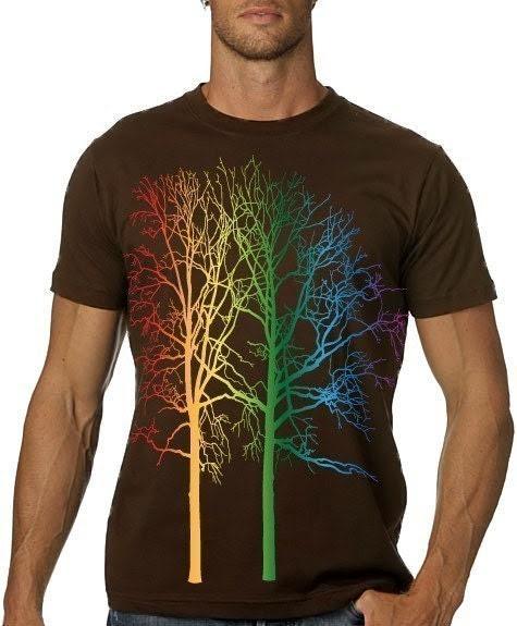 Rainbow Trees Tshirt MENS Graphic Tee - CritterJitters