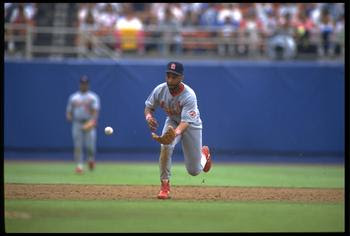 11 JUL 1992:  ST. LOUIS CARDINALS INFIELDER OZZIE SMITH MAKES A PLAY DURING THE CARDINALS VERSUS LOS ANGELES DODGERS GAME AT DODGER STADIUM IN LOS ANGELES, CALIFORNIA.  MANDATORY CREDIT:  STEPHEN DUNN/ALLSPORT
