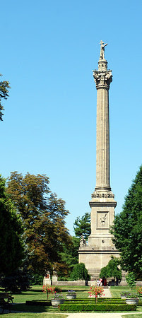 Brock's Monument at Queenston Heights Park. The present monument was rebuilt in 1853 after the original monument was bombed by a terrorist in 1840. The monument is owned by Parks Canada and maintained by the Niagara Parks Commission.
