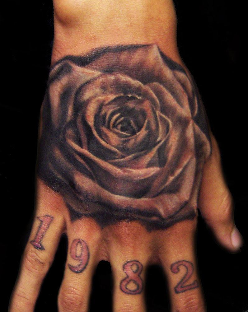 Bold Black Rose Flower Hand Tattoos Design For Men Tattoomagz