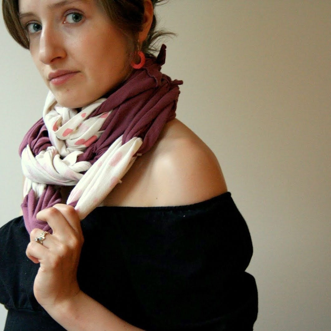 Eco-Friendly Recycled T-shirt Scarf- In a Knot