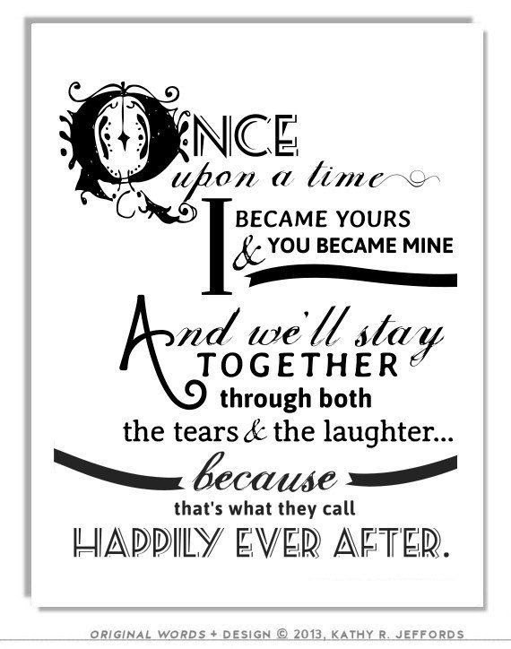Happily Ever After Quote Print For Newlyweds Just Married Couple