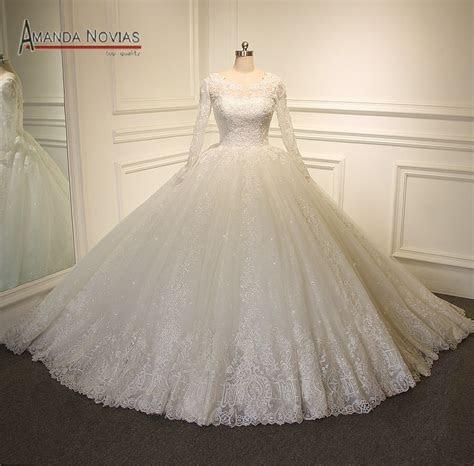 Big Ball Gown Wedding Dress Puffy Bridal Dress With Long