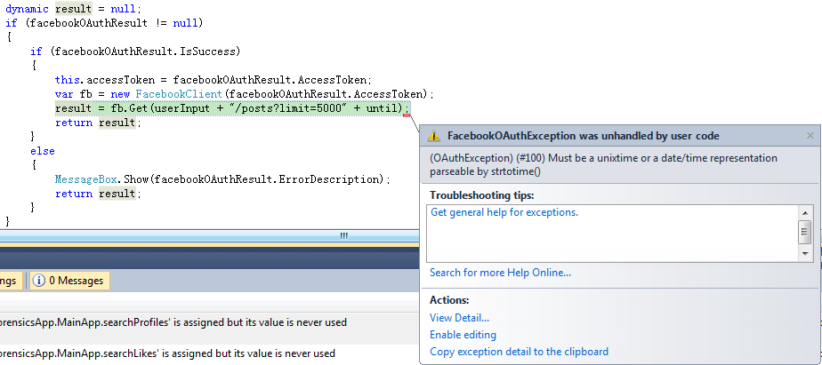 stored procedures: facebook v2 2 c# posts function oauthexception #100
