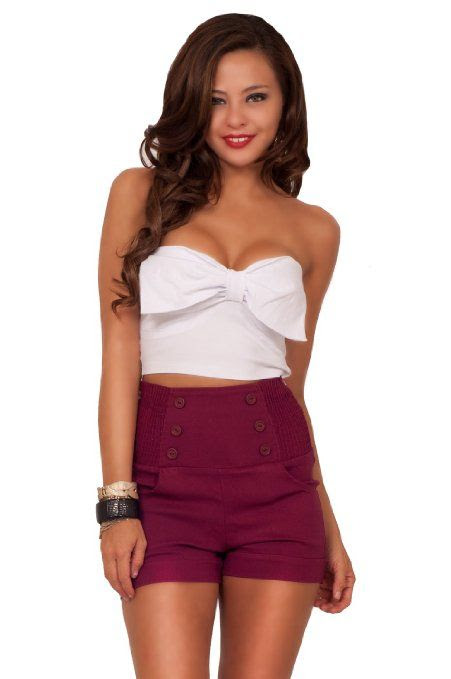 Trendy Sexy V-Neck Strapless Bustier Front Bow Fashionable Crop Midriff Top: Clothing