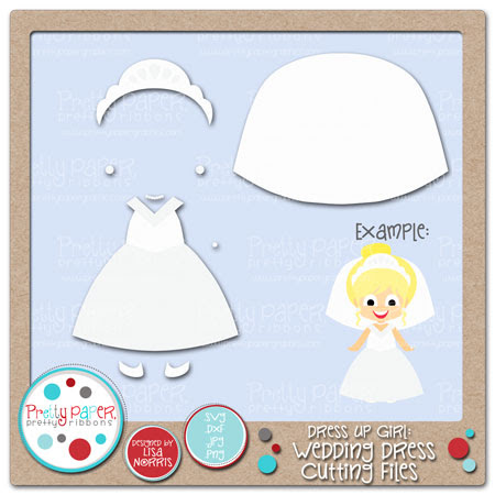 Dress Up Girl Wedding Dress Cutting Files
