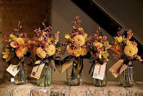 Bouquet Mason Jars with Handmade Name Tags for Receptions