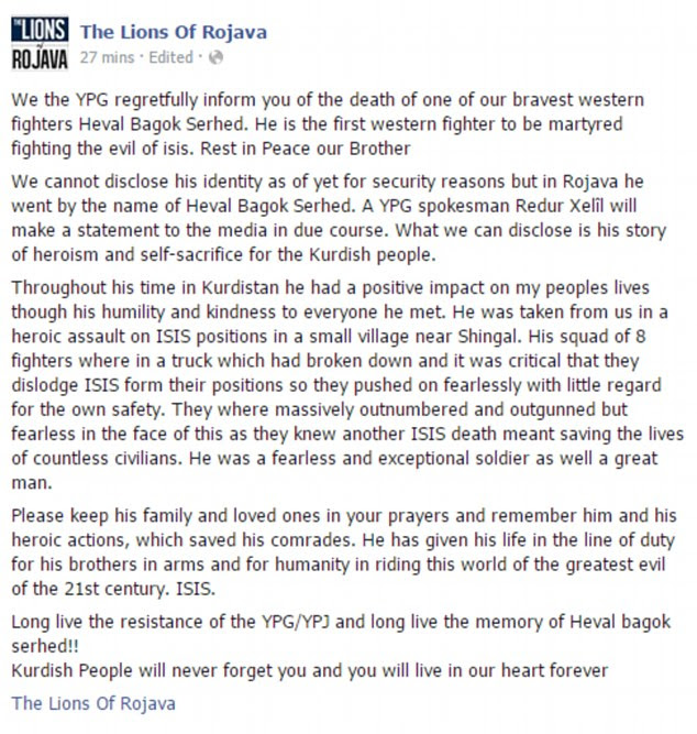 The Lions of Rojava posted this tribute to the Australian man they claim has been killed while fighting for them
