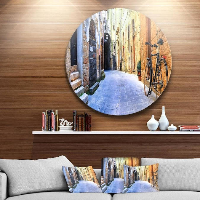 Designart Pictorial Street of Old Italy' Disc Cityscape ...