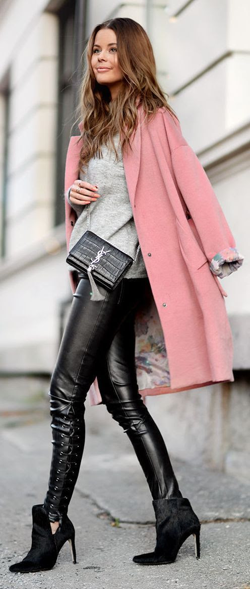 Lovely Street Style outfit pink coat leather leggings high heels and Saint Laurent bag combination.