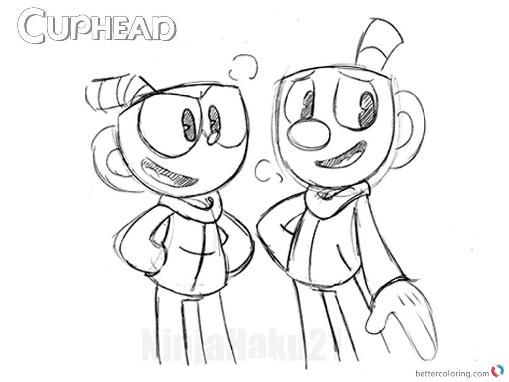 Mugman And Cuphead Coloring Pages