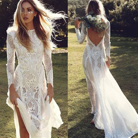 Vintage Lace Mermaid Long Sleeve Wedding Dresses Summer