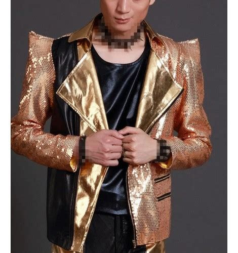 gold sequins long sleeves shrug shoulder fashion mens
