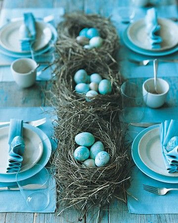 Change out the blue table decor for 'Green'.  Bird's Nest Center Pieces - LOVE !