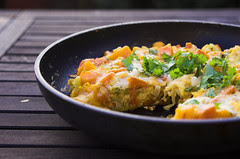 Leek, pumpkin & sweet potato frittata