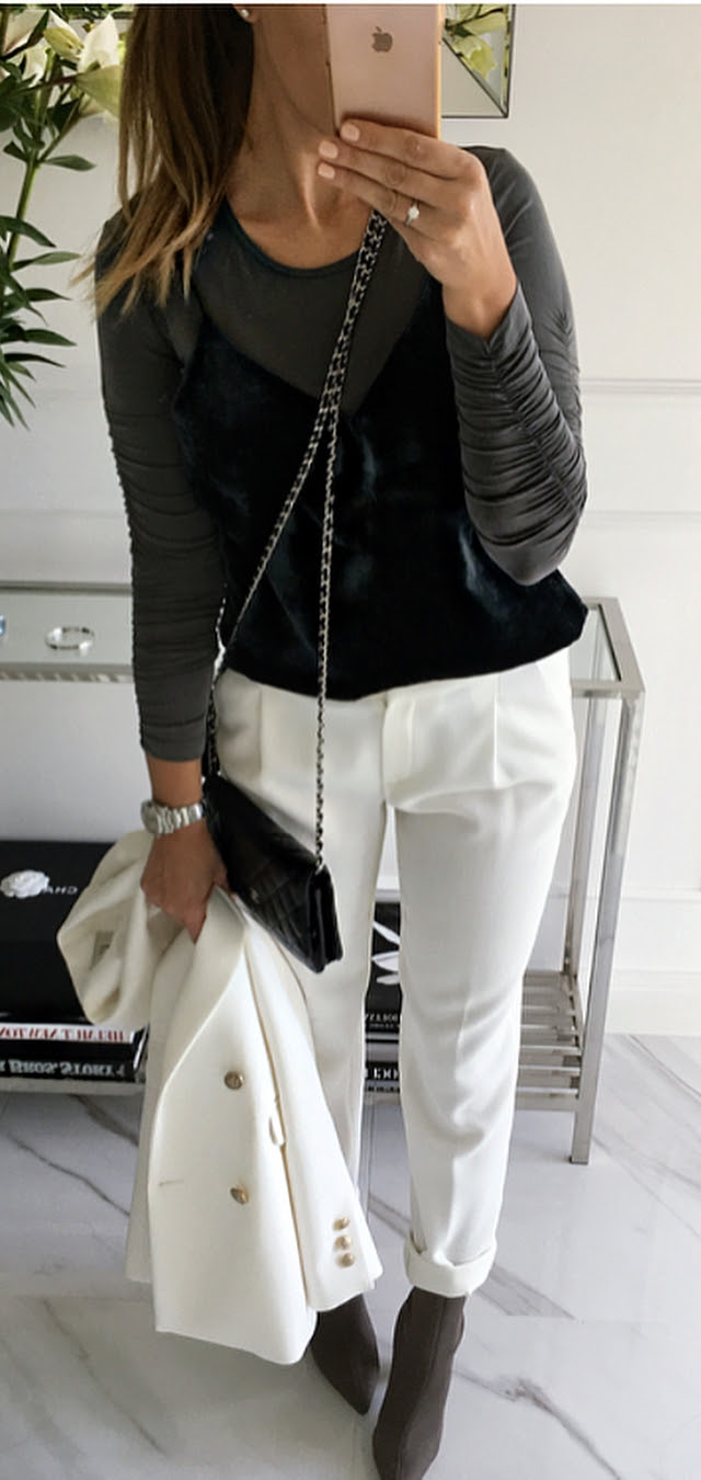 how to style white pants : bag + blazer + top + heels