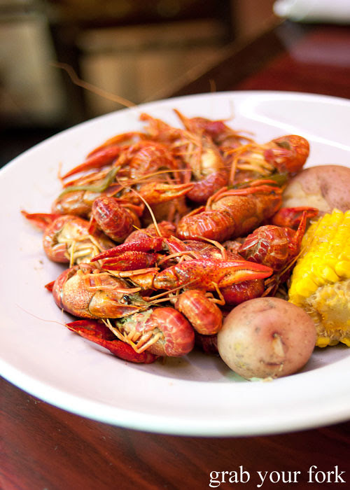 boiled crawfish at pier 424 seafood market on bourbon street in new orleans louisiana