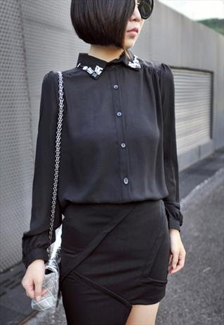 Simple black blouse with embellished collar