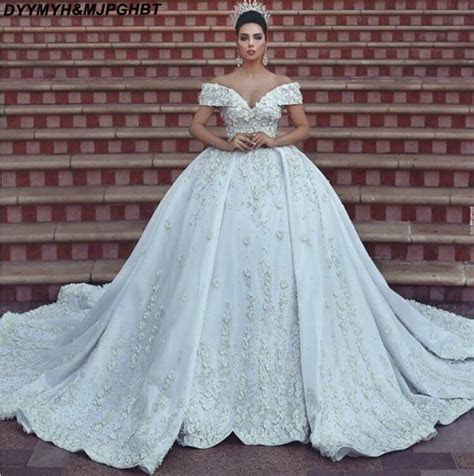 Luxury Flower Ball Gown Bridal Wedding Dresses Long