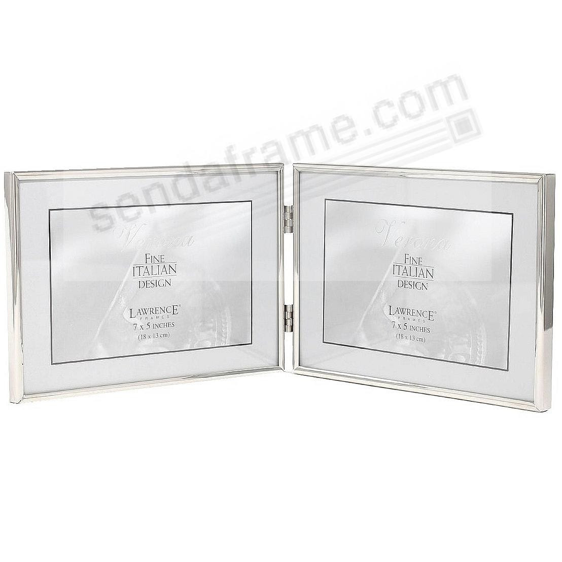 Polished Simply Silver Double Landscape Hinged 7x5 Frame By Lawrence