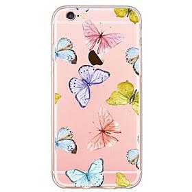 For Etui iPhone 6 / Etui iPhone 6 Plus Ultratynn / Monster Etui Bakdeksel Etui Sommerfugl Myk TPU AppleiPhone 6s Plus/6 Plus / iPhone