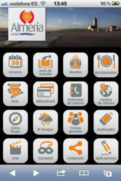 Web móvil de turismo de Almería