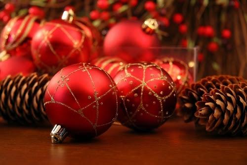 Red Christmas ornaments - christmas Photo