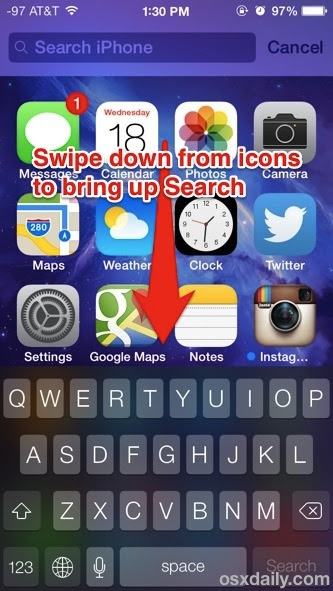 Search iOS 7 with a swipe down gesture to access Spotlight