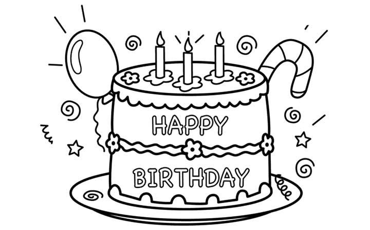 Happy Birthday Geburtstagsbilder Zum Ausmalen - Malvorlagen