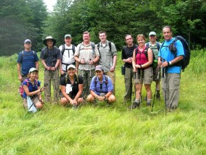 13 hikers in big meadow circle B-18 Bomber Hike July 24, 2010