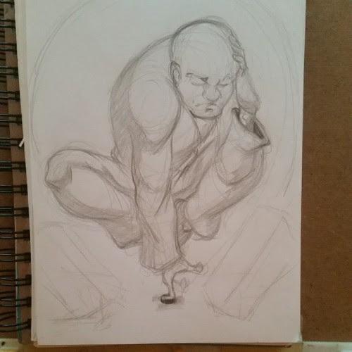 Wip for a friend! Mind bending monk #sketchavember