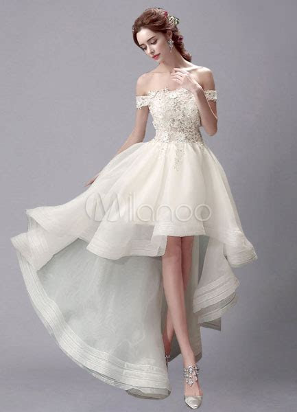 Ivory Wedding Dress High Low Off the Shoulder Lace Wedding
