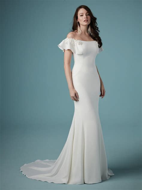 Ainsley (9MW890) Simple Off the Shoulder Wedding Dress by