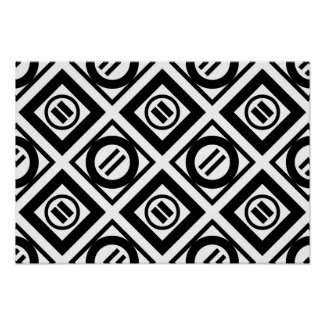 Black Equal Sign Geometric Pattern on White Poster