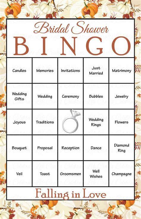 30 Falling in Love Bridal Bingo Cards   Fall Bridal Shower