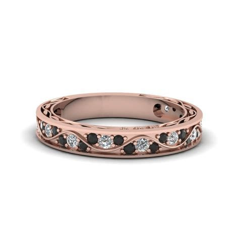 Vintage Pave Wedding Ring For Women With Black Diamond In