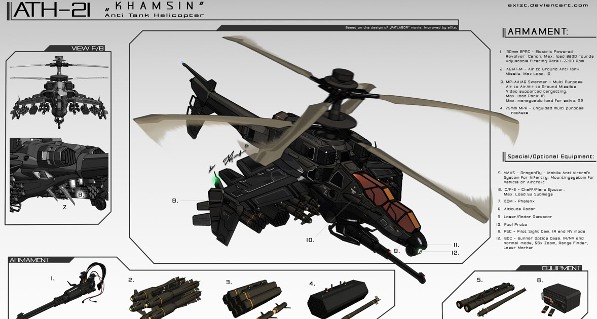 concept ships: Concept helicopter gunship art by Andrew Silva