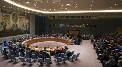 A general view shows the meeting of the United Nations Security Council on Women, Peace and Security at U.N. headquarters in New York