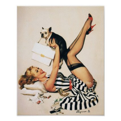 Puppy Lover Pin-up Girl - Retro Pinup Art
