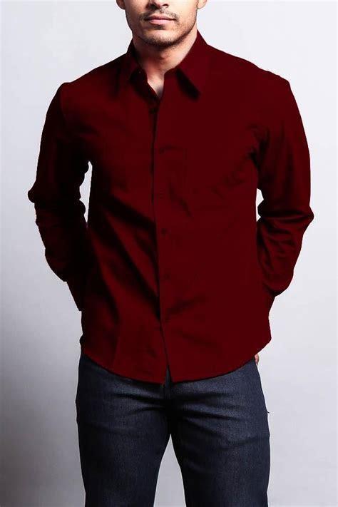 Men's Basic Solid Color Button Up Dress Shirt (Burgundy)