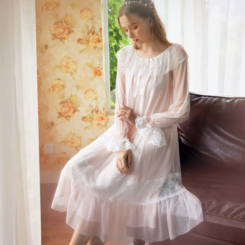 Get  Plus Size Sleepwear Nightdress Ladies Lingerie Nighty Night Dress Women French Fairy Princess Mesh