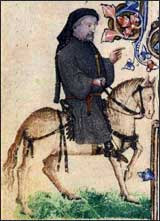 Chaucer portrait in the Ellesmere manuscript of the Canterbury Tales