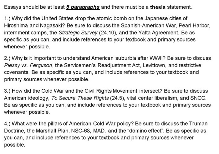 how to make a thesis statement united states