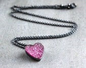 Candy Pink Druzy Heart Necklace, Hot Pink Valentine Druzy Oxidized Sterling Necklace Heart Jewelry - Sugar Rush - TheSlyFox