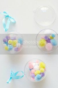 diy fillable baubles, pom pom decorations