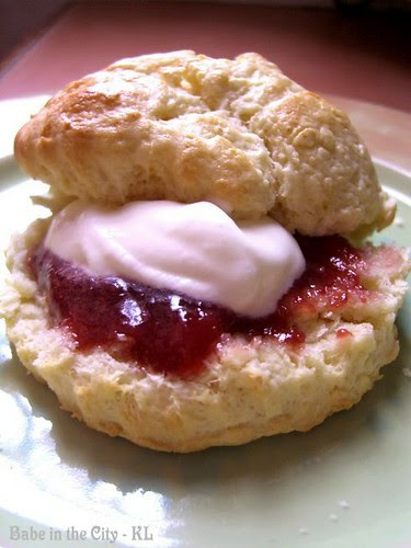 Scones with strawberry jam and clot
