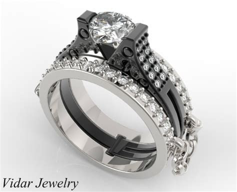 Unique Linked Chain Handcuff Wedding Ring Set For Women